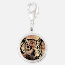 Old World Parchment Owl Silver Round Charm