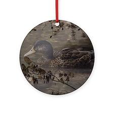 Wild duck on lake design Round Ornament