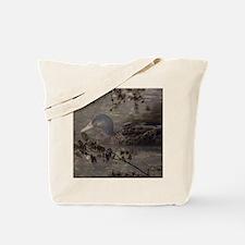 Wild duck on lake design Tote Bag