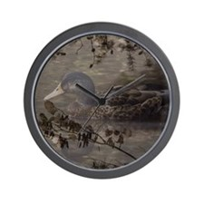 Wild duck on lake design Wall Clock