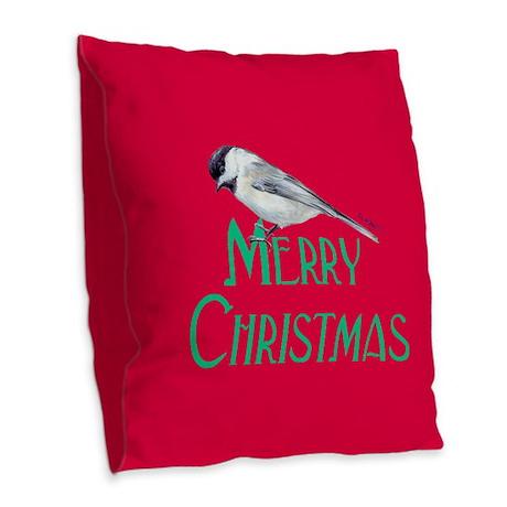 Merry Christmas Red Chickadee Burlap Throw Pillow