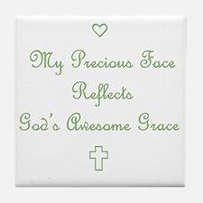 My Precious Face Green copy Tile Coaster