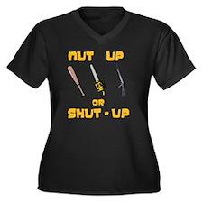 NutUpShutUp Women's Plus Size Dark V-Neck T-Shirt