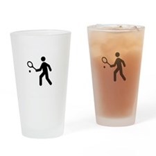 TennisBroke White Drinking Glass