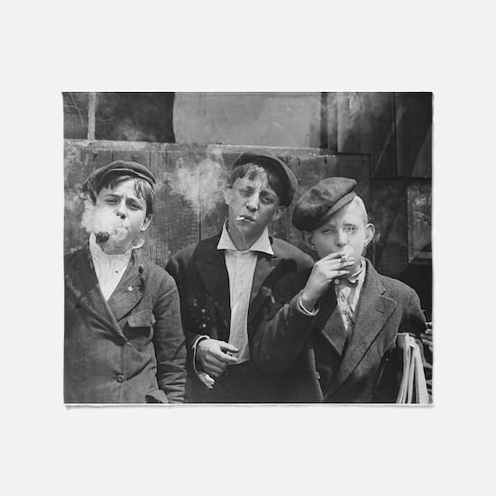 Newsboys Smoking, 1910 Throw Blanket