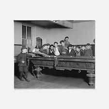 Boys Shooting Pool, 1909 Throw Blanket