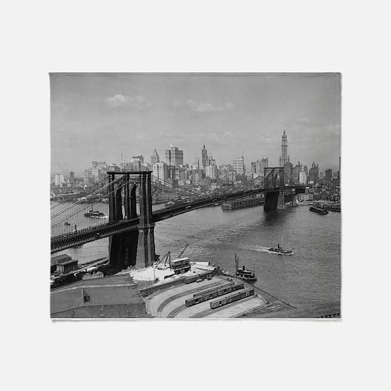 Brooklyn Bridge and Skyline, 1920 Throw Blanket
