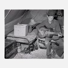 Farm Worker Playing Guitar, 1939 Throw Blanket