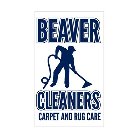 beaver cleaners blue Sticker (Rectangle)