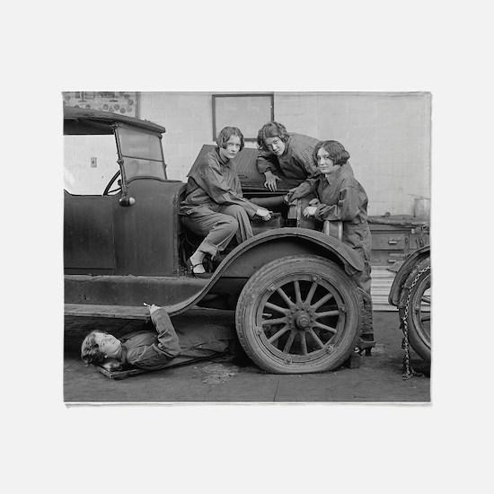 Young Lady Auto Mechanics Throw Blanket