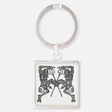 dancing devils bw Square Keychain