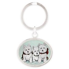 Westies in the snow copy.2007 Oval Keychain