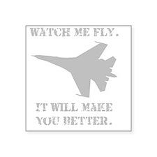 """Watch Me Fly Jet Grey Square Sticker 3"""" x 3"""""""
