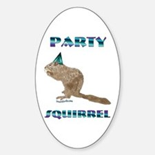 Party Squirrel Oval Decal