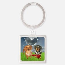 tig lil hearts clouds16x16 copy Square Keychain