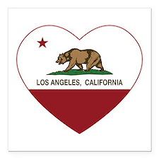 california flag los angeles heart Square Car Magne