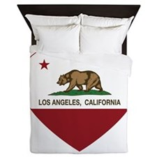 california flag los angeles heart Queen Duvet