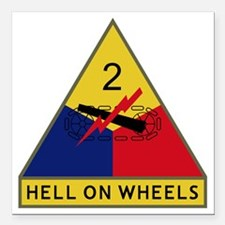 "2nd Armored Division - H Square Car Magnet 3"" x 3"""