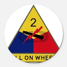 2nd Armored Division - Hell On Wh Round Car Magnet