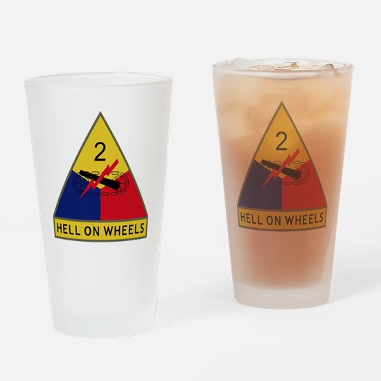 2nd Armored Division - Hell On Whee Drinking Glass