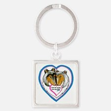 Love Me Blue Square Keychain