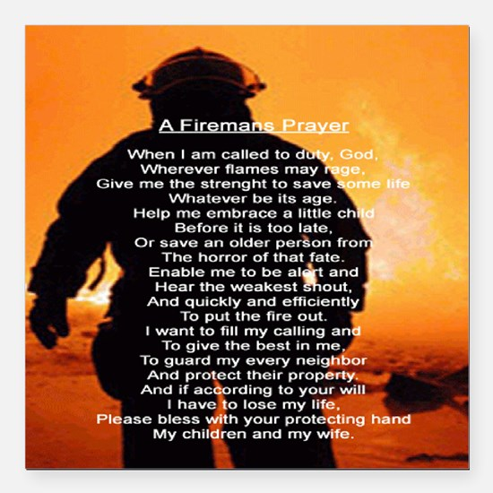 "FIREMANS PRAYER Square Car Magnet 3"" x 3"""