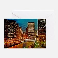Chicago River, Downtown, Nightime Sc Greeting Card