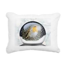 Robin in a Globe Rectangular Canvas Pillow