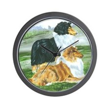 rough collie pair tri Wall Clock