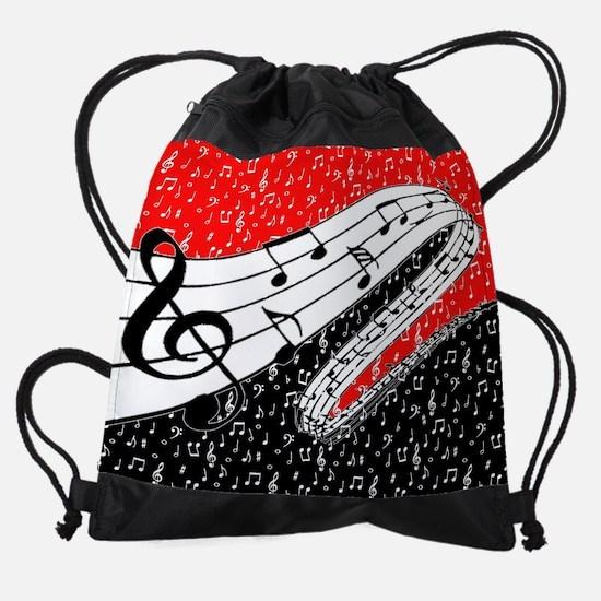 Red and black music theme Drawstring Bag