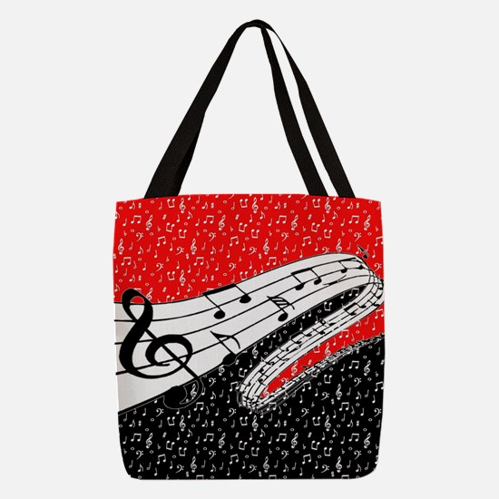 Red and black music theme Polyester Tote Bag