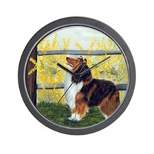 Rough Collie Spring Wall Clock