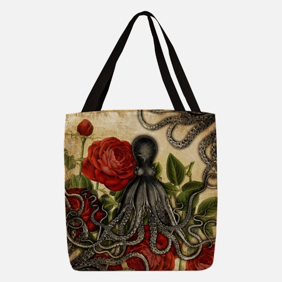 Tentacles And Roses Polyester Tote Bag