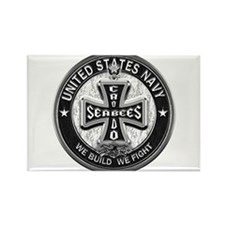 US Navy Seabees Cross Black Rectangle Magnet