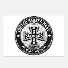US Navy Seabees Cross Black Postcards (Package of