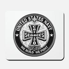 US Navy Seabees Cross Black Mousepad