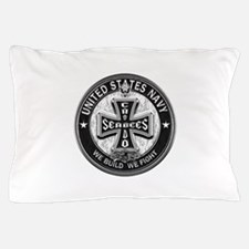 US Navy Seabees Cross Black Pillow Case