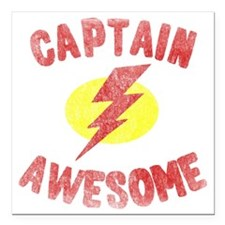 "Captain Awesome Square Car Magnet 3"" x 3"""
