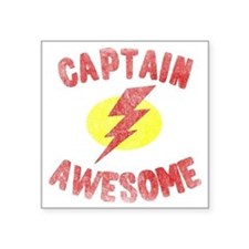 "Captain Awesome Square Sticker 3"" x 3"""
