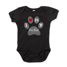 I Heart My Pit Bull Baby Bodysuit