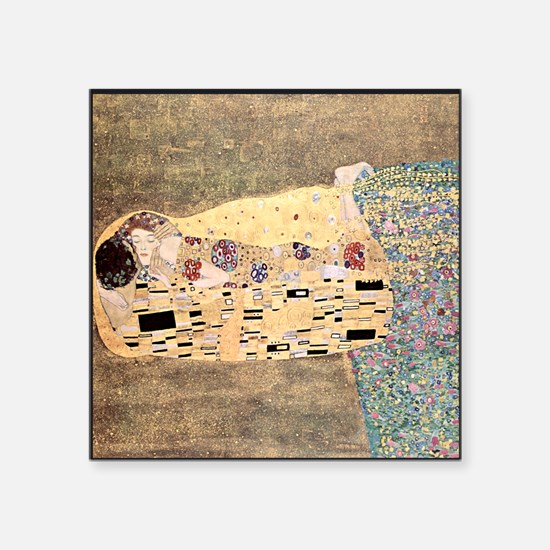 "The_Kiss_Gustav_Klimt_sq_bl Square Sticker 3"" x 3"""