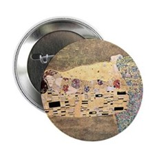 "The_Kiss_Gustav_Klimt_sq_blkborder. 2.25"" Button"