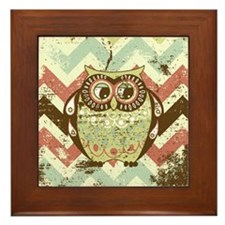 Distressed Chevron Owl Framed Tile