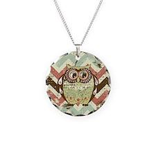 Distressed Chevron Owl Necklace