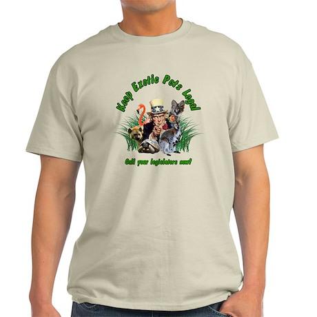 Keep Exotic Pets Legal Green Text Light T-Shirt