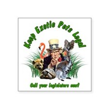 "Keep Exotic Pets Legal Gree Square Sticker 3"" x 3"""