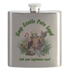 Keep Exotic Pets Legal Green Text Flask