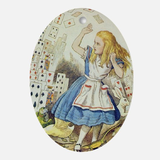 ALICE The Shower of Cards  Illustrat Oval Ornament