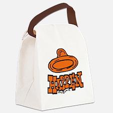 condom_happen_left_orange_clock Canvas Lunch Bag