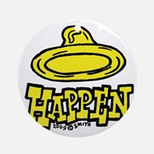condom_happen_left_yellow Round Ornament